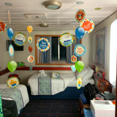 Happy Birthday decorations in my cabin