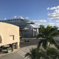 View of terminal and ship from parking garage