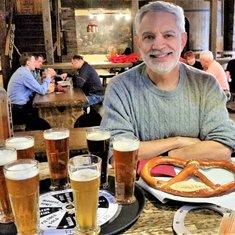 Beer flight & fresh pretzel.