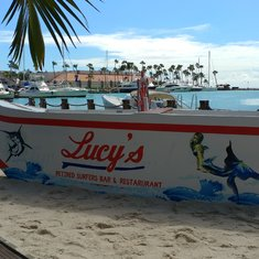 Lucy's Retired Surfer's Bar & Restaurant with a great view.
